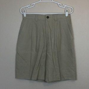 BANANA REPUBLIC Khaki Pleated Linen Shorts 12 NWOT